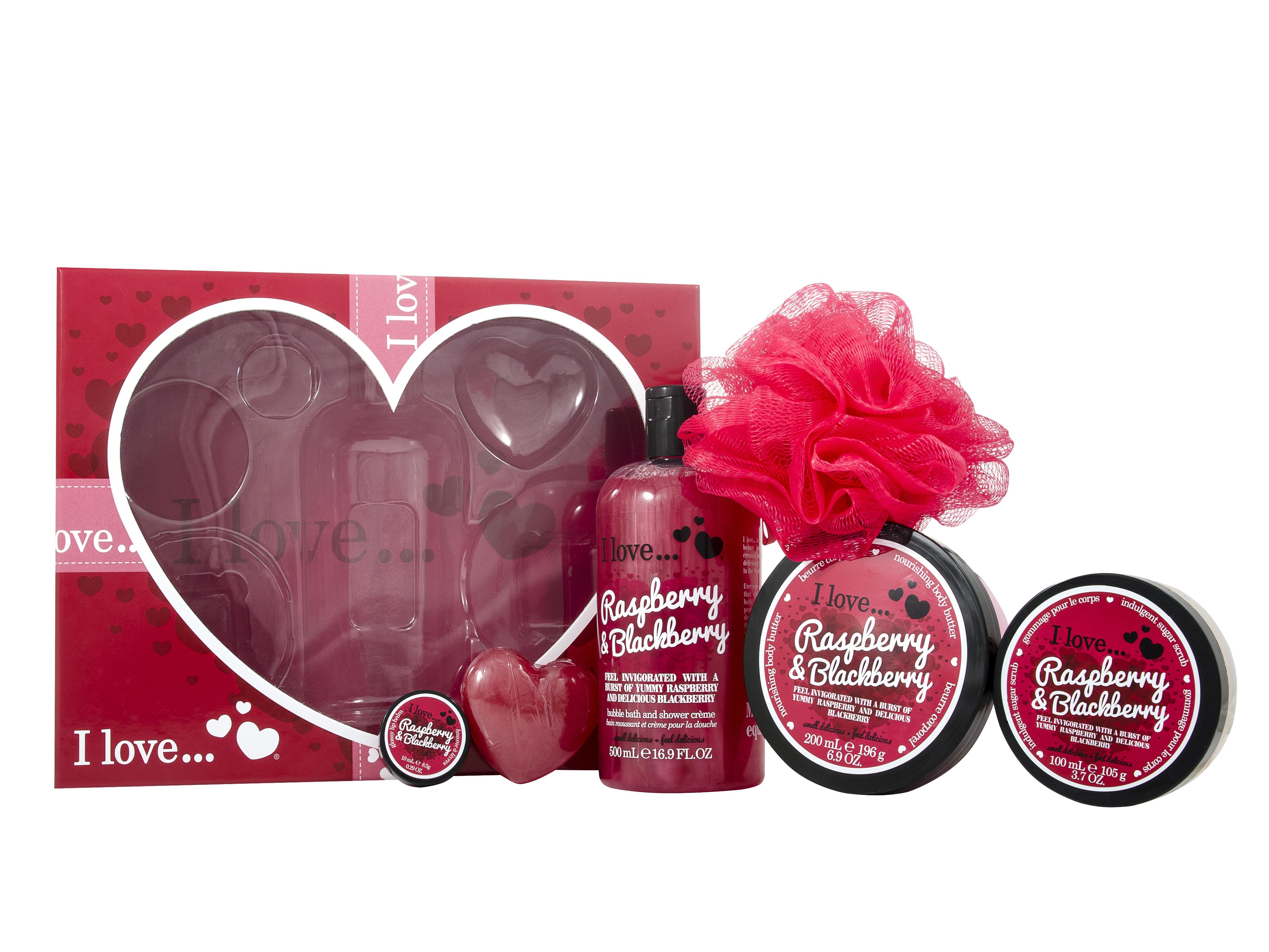 I Love Raspberries And Blackberry Bath & Body 5 Pieces Gift Set