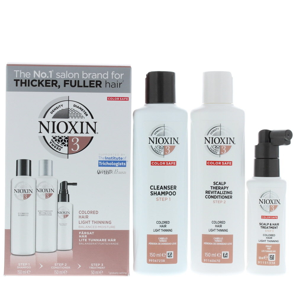 Nioxin 3 Trial Kit System Colored Hair Light Thinning Haircare Set Gift Set : Shampoo 150ml - Conditioner 150ml - Treatment 50ml