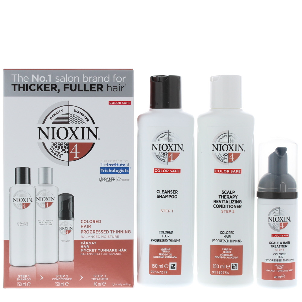 Nioxin 4 Trial Kit System Colored Hair Progressed Thinning Haircare Set Gift Set : Shampoo 150ml - Conditioner 150ml - Treatment 40ml