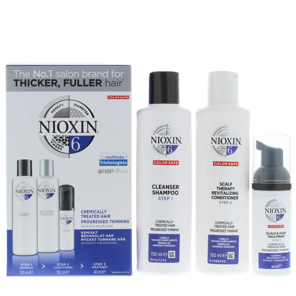Nioxin 6 Trial Kit System Chemically Treated Hair Progressed Thinning Haircare Set Gift Set : Shampoo 150ml - Conditioner 150ml - Treatment 40ml