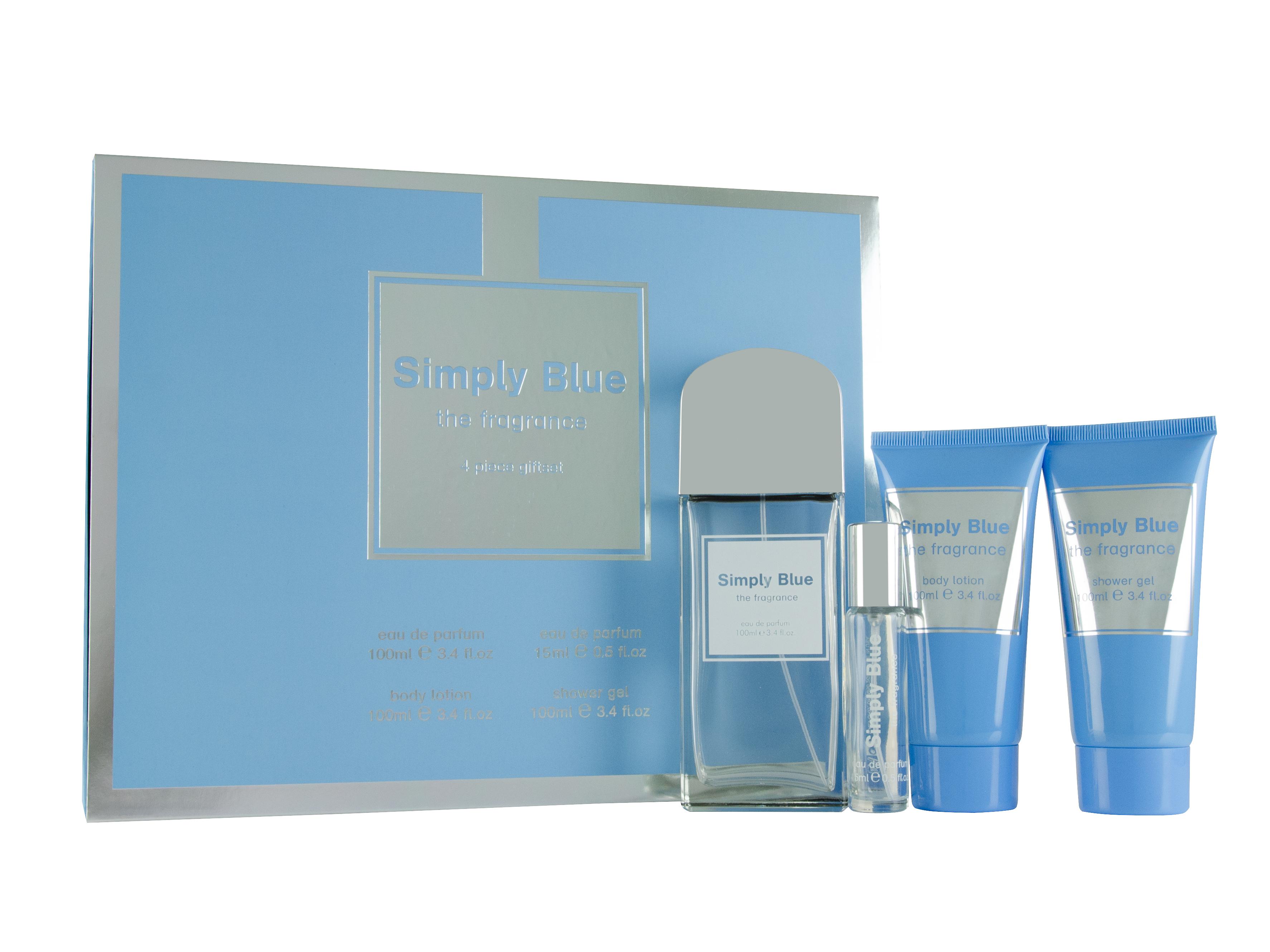 Simply Blue Eau de Parfum Gift Set : Eau de Parfum 100ml - Eau de Parfum 15ml - Body Lotion 100m - Shower Gel 100ml