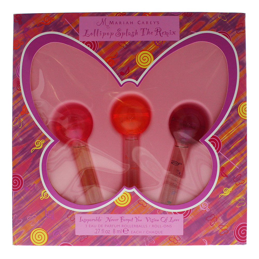 Mariah Carey Lollipop  3 Piece Rollerball Set 3 x 8ml Eau De Parfum Splash The Remix