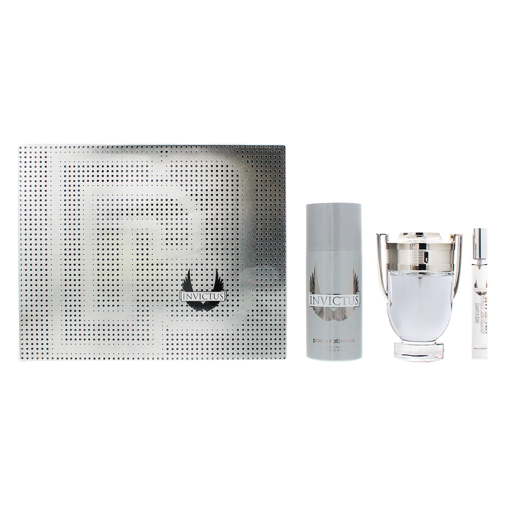 Paco Rabanne Invictus 3 Piece Set - Eau De Toilette 100ml - Eau De Toilette 10ml - Deodorant Spray 150ml
