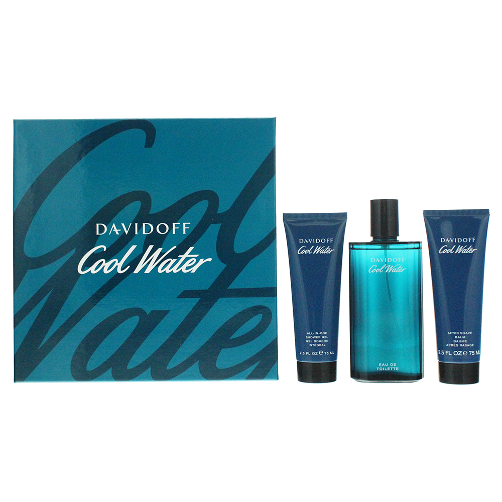 Davidoff Cool Water 3 Piece Eau De Toilette 125ML Aftershave Balm 75ML Shower Gel 75ML