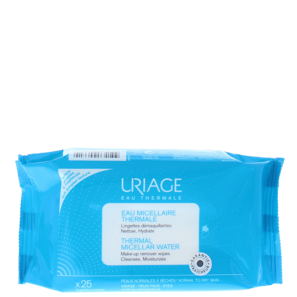 Uriage Thermal Micellar Water 25 X Make-Up Remover Normal To Dry Skin Wipes